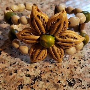 Wood Flower Bracelet